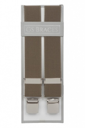 Plain Olive Green Trouser Braces With Large Clips